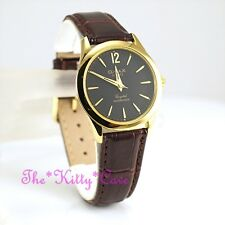 Omax Waterproof Slim Gold Epson Seiko Movt Mahogany Leather Unisex Watch SC7671