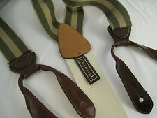 Trafalgar Green Olive Tan Regimental Stripe Ribbed Suspenders Braces