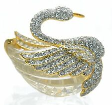 Kenneth Jay Lane Crystal & Lucite Swan Pin Brooch