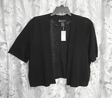 BLACK LINEN BLEND OPEN FRONT KNIT SHRUG CARDIGAN JACKET SWEATER TOP~22/24~2X~NW