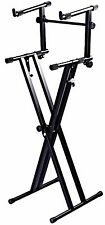 Piano Keyboard Stand X Style 2 Tier Double Station Stands Musician NEW