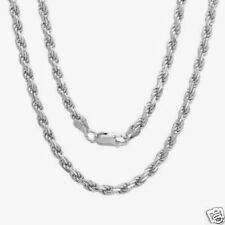 Silver Italian Rhodium Rope Chain Necklaces Sterling Silver 925 Jewelry 24""