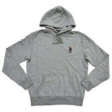 NEW Polo Ralph Lauren Bear Hoodie Mens S SM Pullover Fleece Sweatshirt GREY GRAY