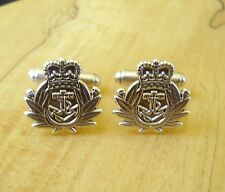 ONE PAIR BRITISH ARMY STERLING SILVER ROYAL NAVY CUFFLINKS