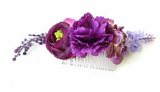 Purple Rose Ranunculus Lavender Flower Hair Comb Bridesmaid Headpiece Vtg 1171
