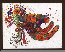 LAUREL BURCH...ANGEL CAT BRINGS FLOWERS,LOVE,SUPPORT,SPARKLE,DECO,GREETING CARD