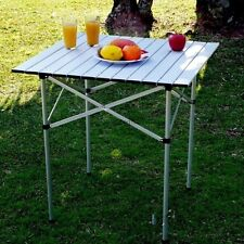 Outdoor Picnic Table Portable Folding Camping Dining Roll Up Aluminum Table USA