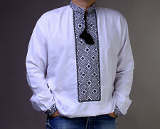 EASTER gift SALE!! Vyshyvanka man Ukraine Embroidery shirt White homespun Cloth