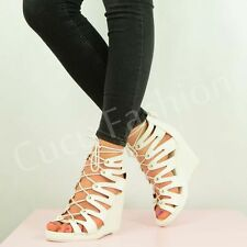NEW WOMENS WEDGES LADIES HIGH HEEL LACE UP SANDALS STRAPPY SHOES SIZE 3-8