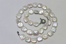 Fresh water pearl necklace Square shape white 11mm 17.5INCH Metal clasp