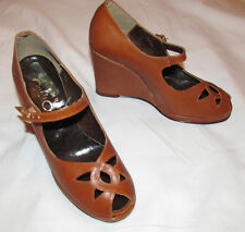 vintage QualiCraft man made vegan wedge platform mary jane shoes 4.5 M WOW!