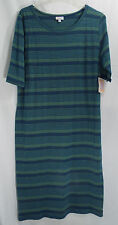 LuLaRoe Women's Plus Size Julia Dress Green & Blue Stripe in 3XL   NWT