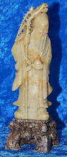 "Vintage Antique Chinese Soapstone Carving / Statue of Elder Nobleman 8"" Tall"