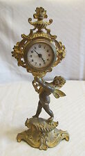 Antique Art Nouveau Figural Fairy Girl w/Wings Gold Gilt Cast Brass Desk Clock