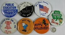 7 Vintage Pin Buttons Public Education Halloween 1776-1976 Smurf Jerry's Kids