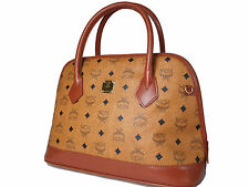 Authentic MCM Logos Brown Bowler Leather Hand Bag Purse MB13651L