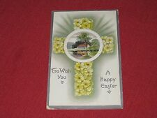 1910 To Wish You A Happy Easter Postcard Posted #13 Embossed Cross VG