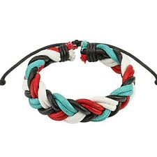 Quad Multi Colored Double Braided Adjustable Leather Bracelet One Size Fits Most