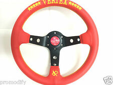 320mm Red Leather Yellow Star Deep Dish Steering Wheel OMP MOMO Nardi Vertex