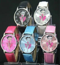 Wrist Watch for Women Leather Band Betty Boop Pattern Pink Stylish Watch