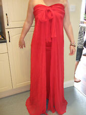 gorgeous red full length strapless evening dress BNWT Size M 32 across chest