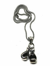 LARGE Adorable 3D Stainless Steel Boxing Gloves Pendant Necklace Chain For Mens