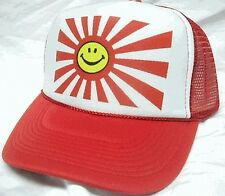 Smiling Japan Flag Trucker Hat mesh hat snapback hat red