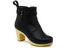 SWEDISH HASBEENS Boots High Clogs 465 Jodhpur 7.5 8 38 Black Nature