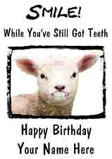 Sheep Happy Birthday Card Smile Teeth66 A5 Personalised Greeting