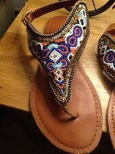 New Look Size 7 Beaded Thong Sandals