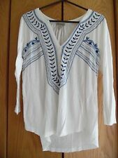 Women Lucky Brand Off of White V Neck Embroidered  Top Blouse Shirt Tunic Sz M