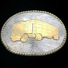 Trophy Belt Buckle Gold Big Rig Hand Engraved Silver
