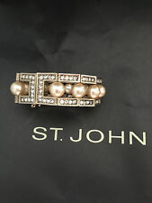 NEW ST JOHN KNIT WOMENS BRACELET ROUND GOLD COLOR WITH CRYSTALS & PEARLS