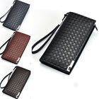 New Men's Long Leather ID Credit Card Holder Bifold Wallet Purse Clutch Zipper