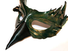 Jade Bird Mask Handmade Leather Venetian Masquerade green/gold