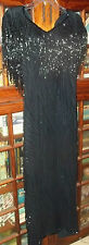 Vintage Black Silk Lined Beaded Evening Gown Wedding Cocktail Dress size 10P