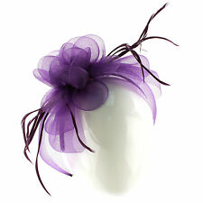 Handmade Floral Beads Feathers Headband Fascinator Millinery Cocktail Hat Purple