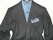 HOLLAND & SHERRY Savile Row Men's Gray Striped Two Button Wool Suit- 44R 37Wx29