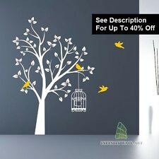Wall Stickers Nursery Tree Bird Family Tree Flower Kids Wall Art Sticker-l-(D147