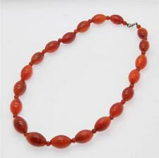 A Very Attractive Antique Cornelian Hard-Stone Oval Bead Necklace