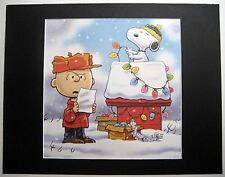 CHARLIE BROWN~SNOOPY~11x14 Mat Print~DOGHOUSE XMAS