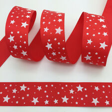 """100 yds 1"""" 25mm Printed Five-pointed Star Grosgrain Ribbon Hair Bow Red #A22"""