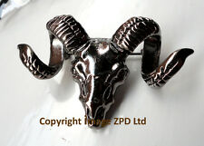 Goat Rams Head Skull with Horns Lapel Pin Badge Brooch Dark Silver Colour