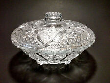 Vintage KIG Fleur De Lis Glass Candy Dish w/ lid Roses and Hearts
