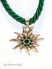 German Bavarian Womens Oktoberfest Jewelry - Green Swarovski Edelweiss Necklace