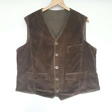 Vtg Antique 1940s Cord french chore waistcoat Vest Workwear Peasant