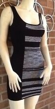 Bebe VARIEGATED STRIPE Sleeveless Sweater Dress Jersey Knit Mini Black XS!!