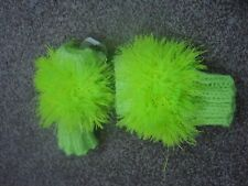 Funky kids neon green eyelash yarn fingerless gloves warm washable