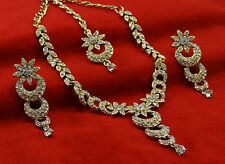 Ethnic Bollywood Women Goldtone 3 PC Necklace Set Traditional Indian Jewelry