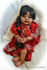 MaPetite AHS; OOAK ethnic baby girl doll, real saree, jewels, hair, realistic